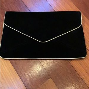Black suede large envelope clutch